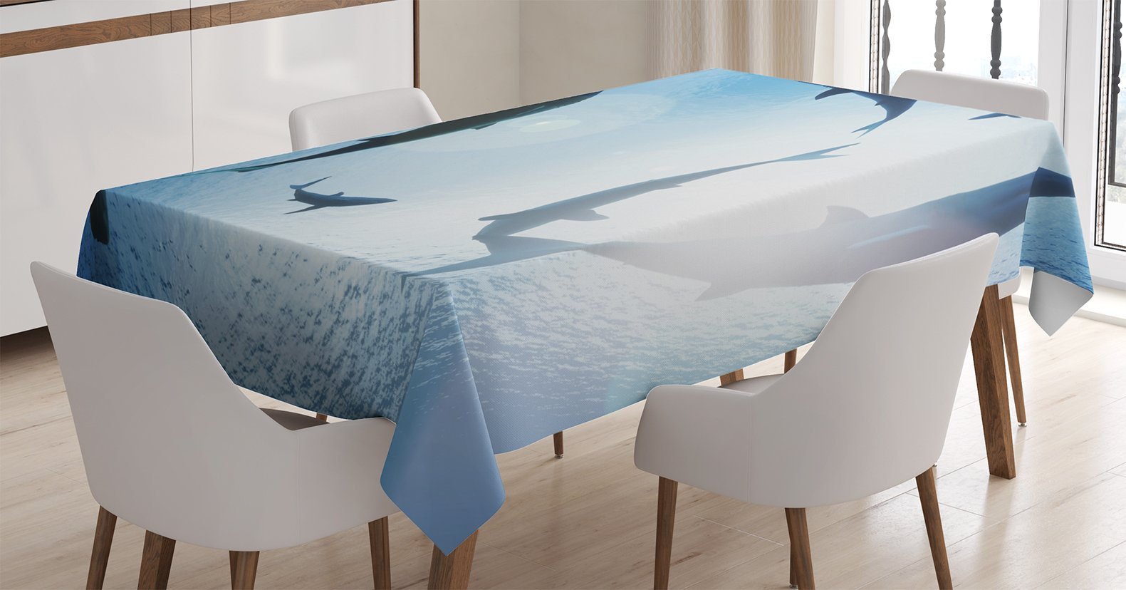 Ambesonne Sea Animals Decor Tablecloth, School of Sharks Circling from Above Aggressive Creature Scary Threat, Dining Room Kitchen Rectangular Table Cover, 52 X 70 inches