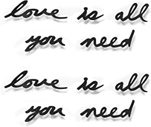 Umbra Mantra Wall Décor Phrase – Love Is All You Need – Set of 10 Stamped Metal Words - Inspirational Wall Quote Black Sticker – Mounts to Wall With Adhesive Built-in Pins – Adds Inspiration To Rooms