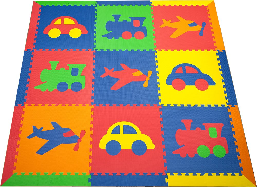 SoftTiles Kids Play Mats- Transportation Theme- Children, Toddler, Baby/Infant Foam Playmats w/Sloped Edges Large 2' Floor Tiles 78'' x 78'' (6.5' x 6.5') Blue, Red, Orange, Yellow, Lime SCTRABROYL