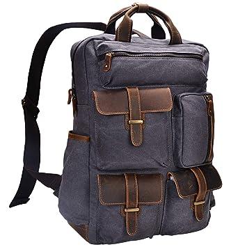 599eadbe3adb Amazon.com  ALTOSY Canvas Backpack Crazy Horse Leather Rucksack for men  Laptop Bag 5351-1 (Grey)  ALTOSY Co.