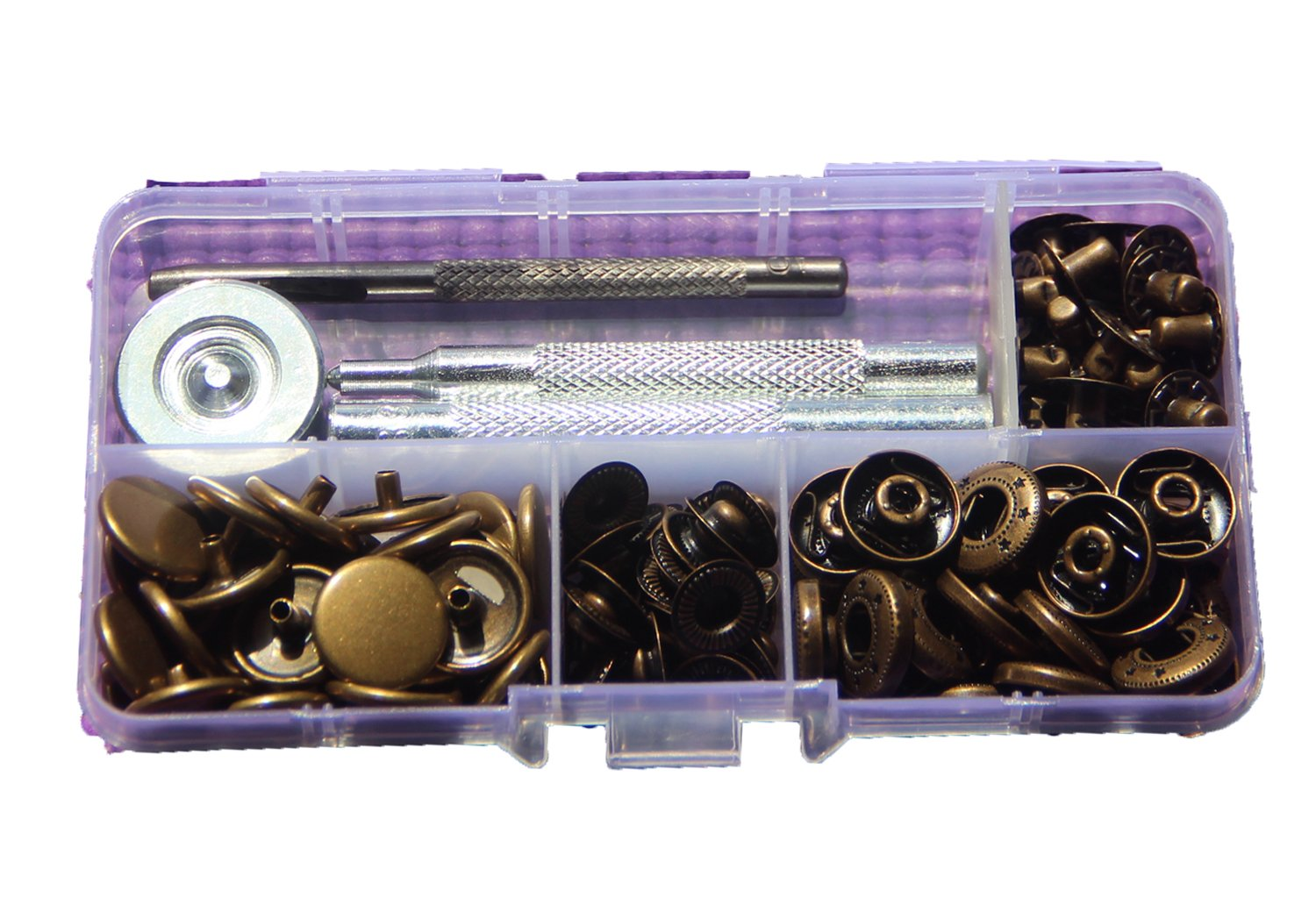 30 Sets 15mm/17mm Heavy Duty Poppers Brass Snap Fasteners Press Stud Rivet  Sewing Leather Craft Clothing w/ 831 Fixing Tools (17mm, Antique Brass)