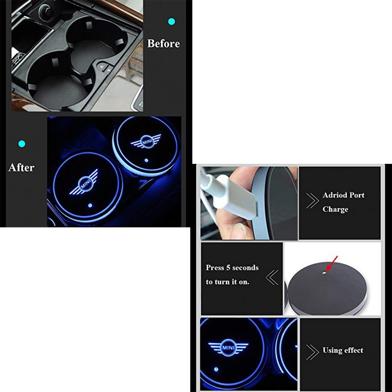 Mmhot-ct L/ámpara de atm/ósfera Interior LED de 7 Colores Intercambiables con Alfombrilla de Carga USB Coj/ín de Taza luminiscente 2 Piezas LED Luces de decoraci/ón de Copa de Coche aptas for Mini