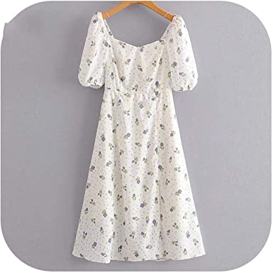 Blue Stor Womens Summer Dresses Casual Sweet Floral Print Dress Women Short Sleeve Square Neck Sexy Slits A Line Midi Dress Summe Amazon Co Uk Clothing