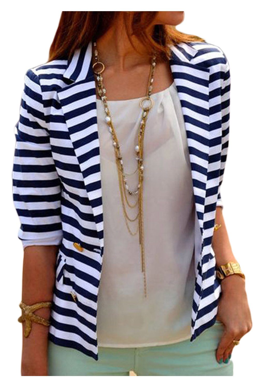 Women Elegant Vintage 3/4 Sleeve Stripes Print Office Lady Suit Business Jacket UKOFE03