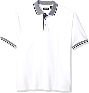 8536 UltraClub Mens Classic Pique Polo with Contrasting Multi-Stripe Trim