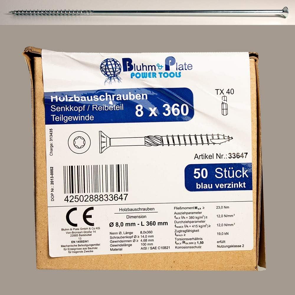 1000 St/ück 3,5 x 30 mm blau verzinkt Holzbauschraube mit Senkkopf TX15 Antrieb Reibeteil und Teilgewinde
