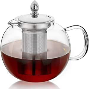 Hiware 45oz Large Glass Teapot Kettle with Infuser, Removable Tea Strainer, Microwavable and Stovetop Safe Tea Maker, Blooming & Loose Leaf Tea Pot Set