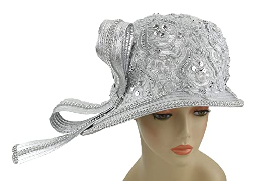 Janes Women Hat Church Hats Wedding Tea Party Formal Hats (Silver) (Silver) 7a254b41af2
