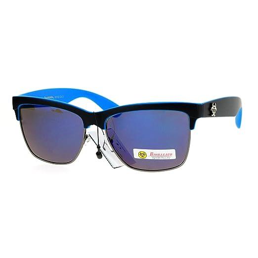 6125c6f2f42 Amazon.com  Biohazard Half Rim Mirror Lens Mens Sport Sunglasses All ...
