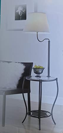 Glass End Table With Build In Floor Lamp Aged Bronze Finish