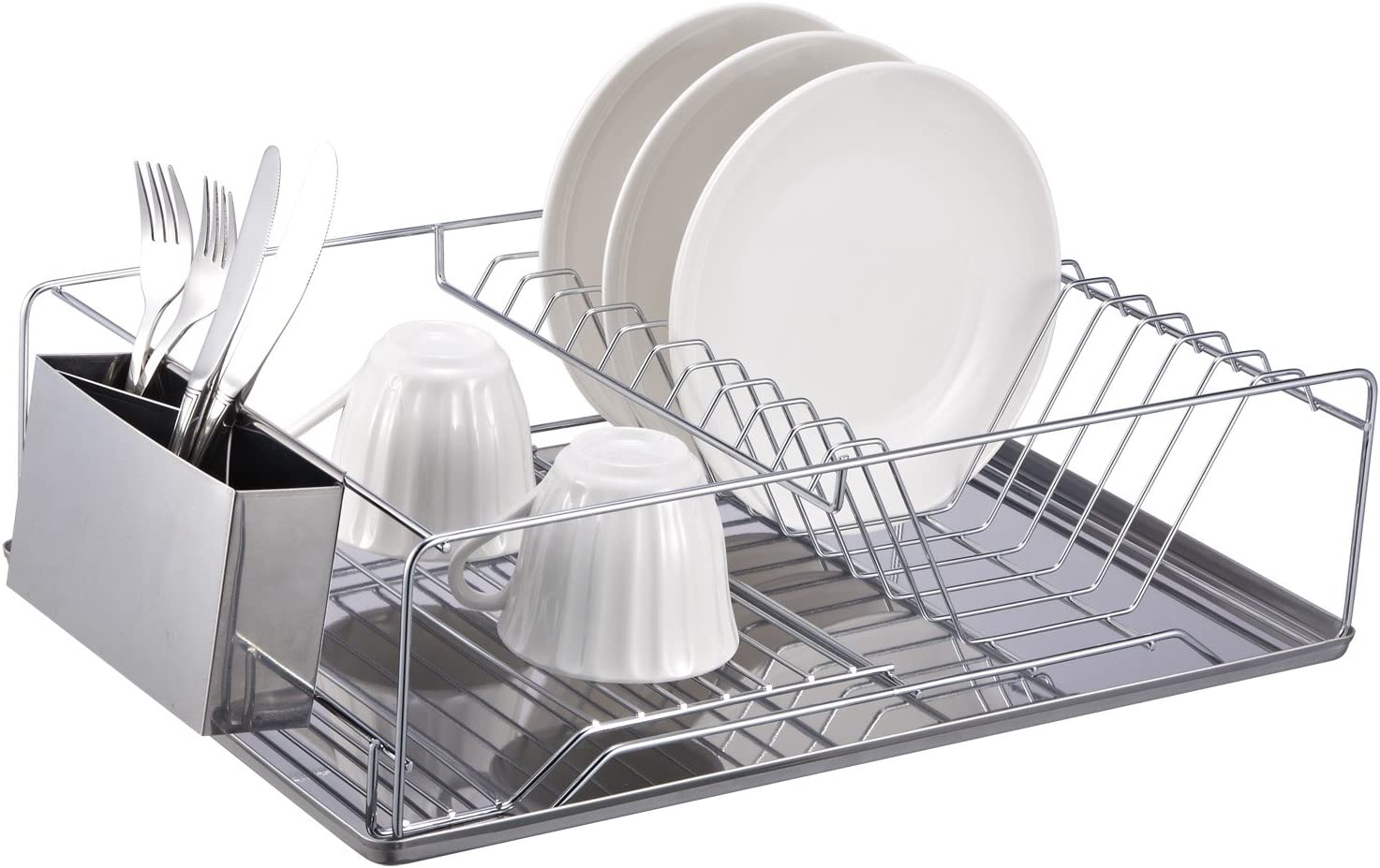 Home Basics Chrome Dish Rack with Stainless Steel Tray
