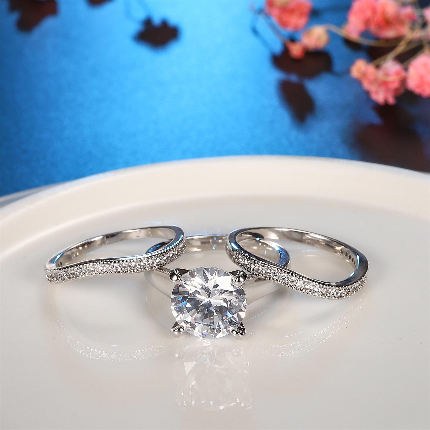 Platinum Plated Bridal Set - Round Cut Cubic Zirconia Rings Women Engagement Ring Set with Wedding Band by Hiyong (Image #6)