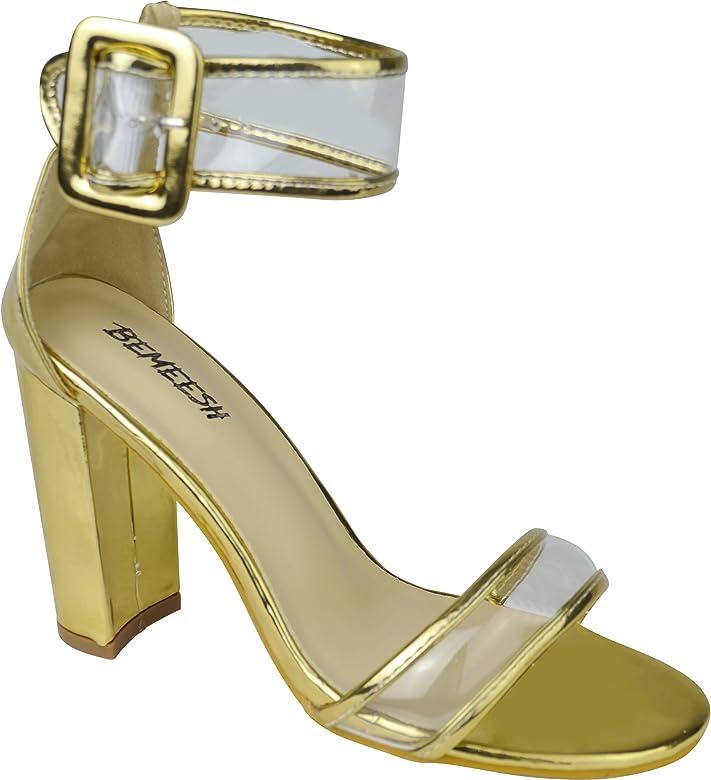 bbf5ab371e1a67 BeMeesh Femmes Fille Chaussures Talon Hauts Bout Ouvert Sandale Escarpins
