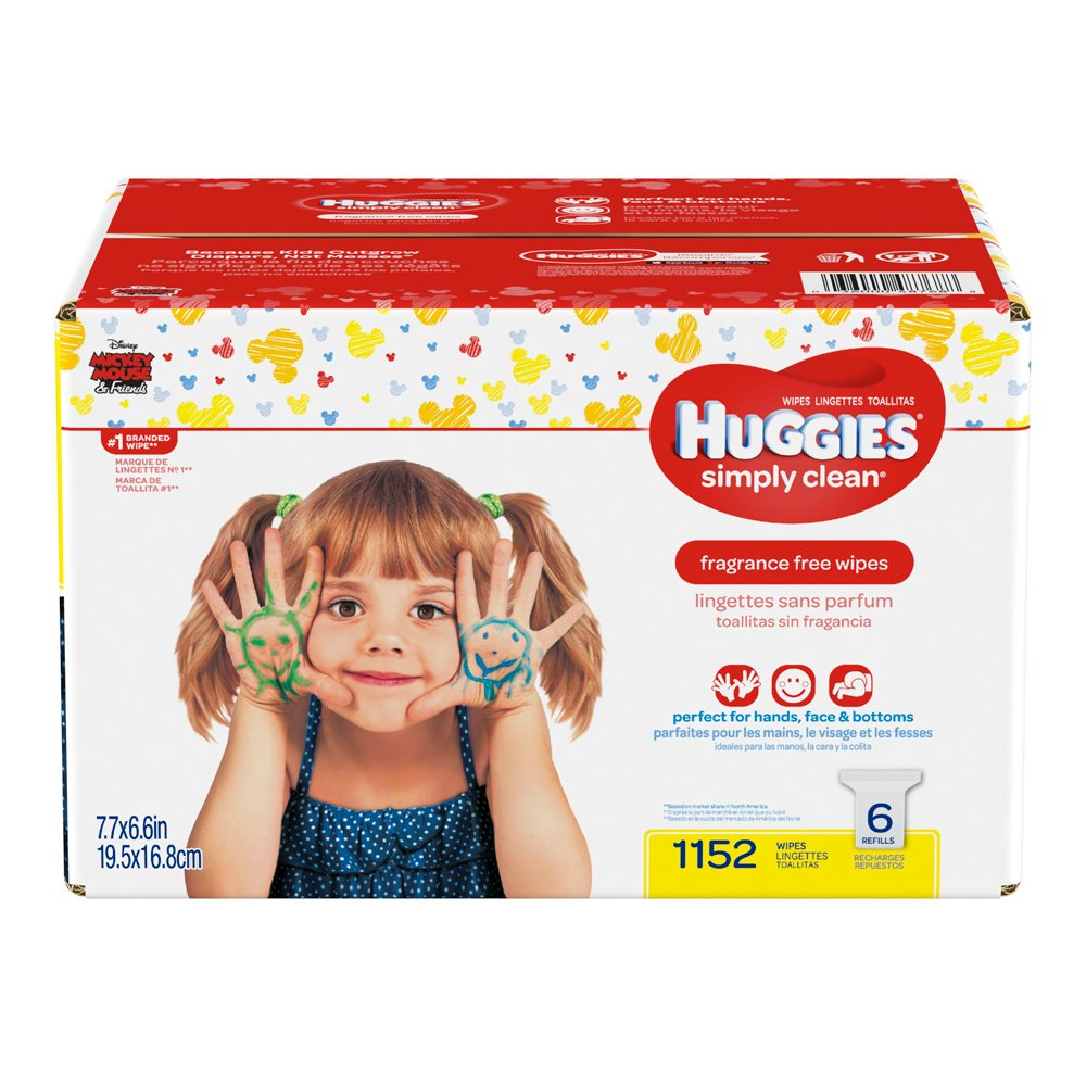 Huggies Simply Clean Fragrance-free Baby Wipes, Refill Pack, 1152 Count Kimberly Clark