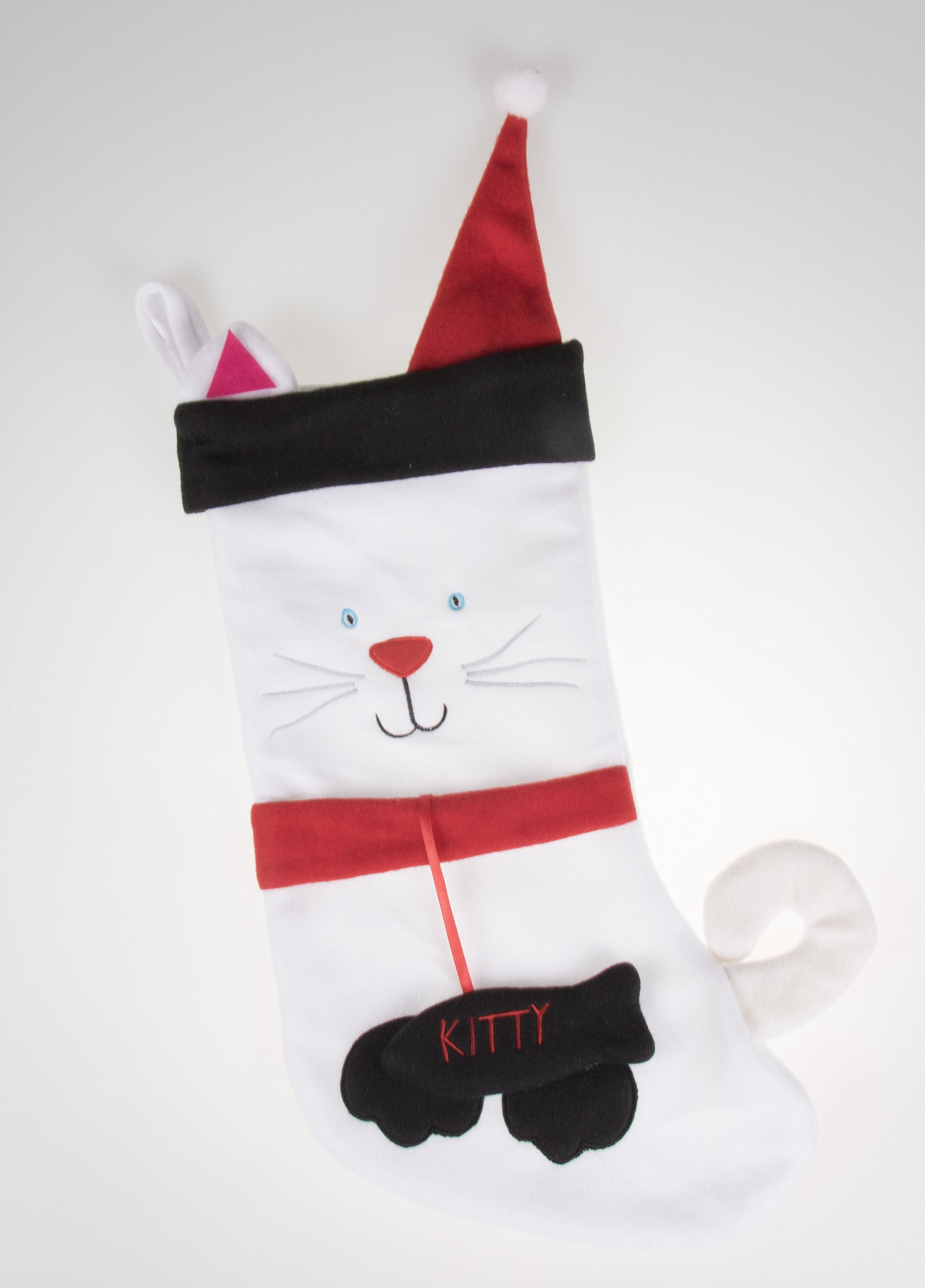 Kitty Cat Soft Plush Cloth Hanging Christmas Stocking | For Kids, Teens, and Adults | White & Black Kitten Holiday Decor Theme | Perfect for Small Gifts, Stocking Stuffers, & Candy | Measures 17'' Tall
