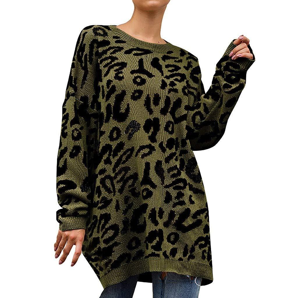 Cianjue Women Long Sleeve Sweatshirt Knitted Leopard Print O-Neck T-Shirt Sweater Blouse Green