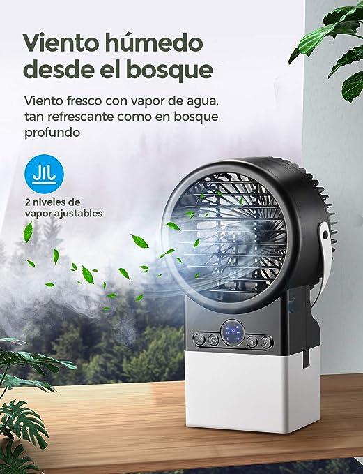 Mini aire acondicionado portátil, Enfriador de Aire en Mesa Silencioso, humidificador, ventilador con tanque de agua, función de temporizador, 3 velocidades, LED, para casa, oficina VERSIÓN 2020: Amazon.es: Hogar