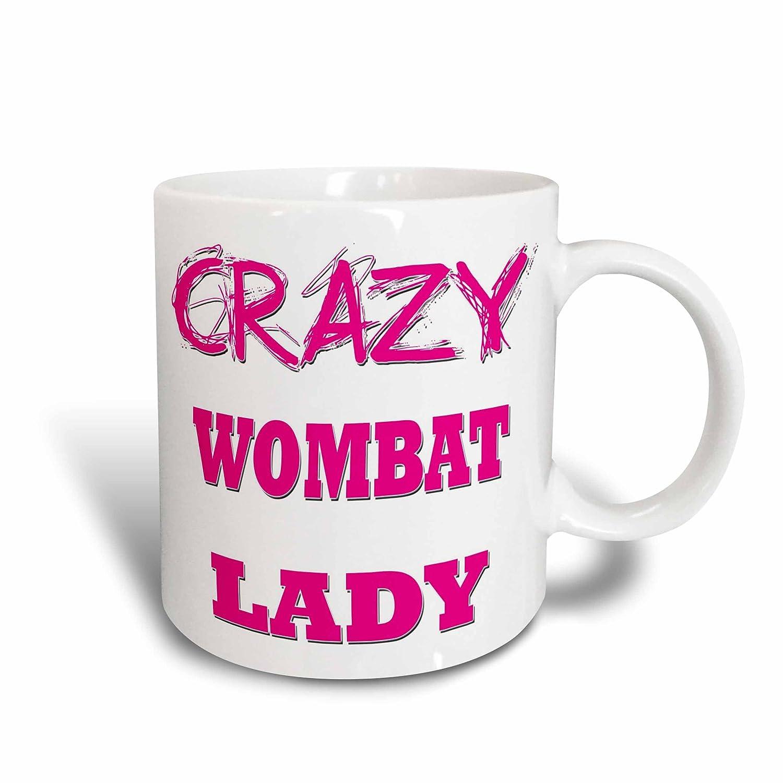 3dRose 175343/_1Crazy Wombat Lady Ceramic Mug 11 oz White