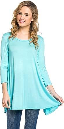 Frumos Womens Tunic Top for Leggings Round Neck T Shirts Aqua Large