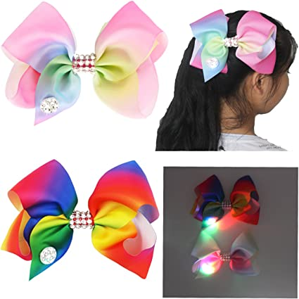 Large Hair Bow with Diamante Rhinestones Clip On Accessory Dance Party Shows