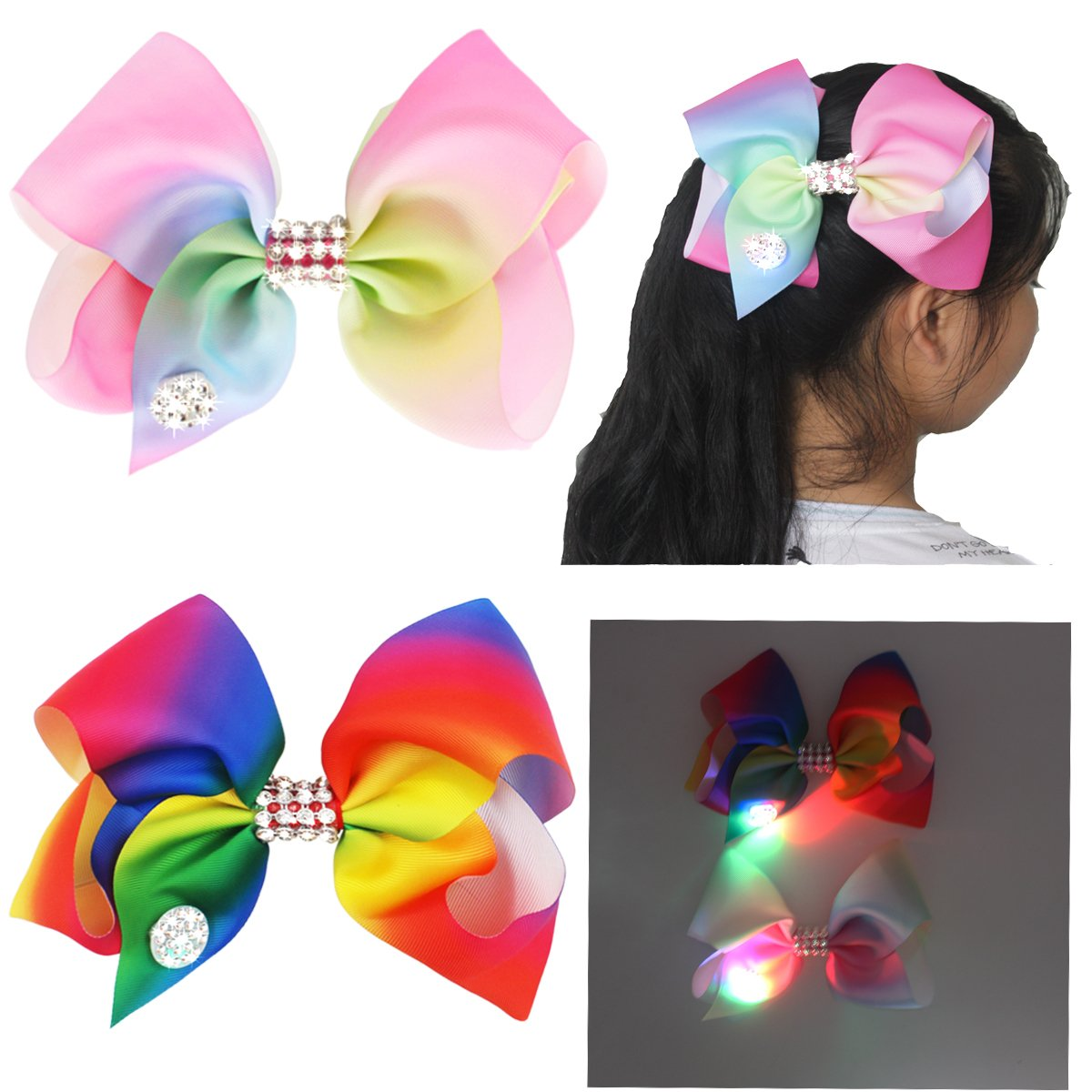 2pcs Girls Multi Coloured Diamante Big Fashion Hair Bow Dance Party School Accessory With Led Glow In Dark MyLot