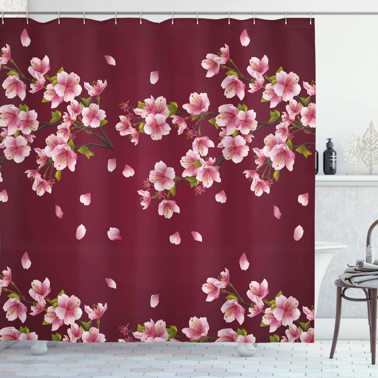 Ambesonne Maroon Shower Curtain, Japanese Sakura Tree Branches in Full Blossom Scattered Petals Spring, Cloth Fabric Bathroom Decor Set with Hooks, 75
