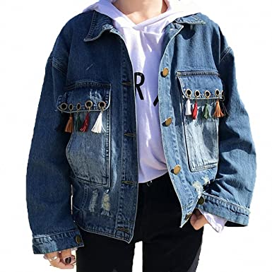 Womens Denim Jacket Tassel Solid Loose Jeans Coat Single Breasted Blue S