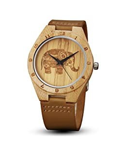 GORBEN Men's Wooden Watches,Creative Elephant Bamboo Wood Watches Natural Cowhide Leather Strap Handmade Lightweight Japanese Quartz Watches for Women Men Gift Box