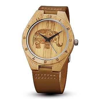 Gorben Herren Holz Uhren Creative Elefant Bambus Holz Uhren Natur
