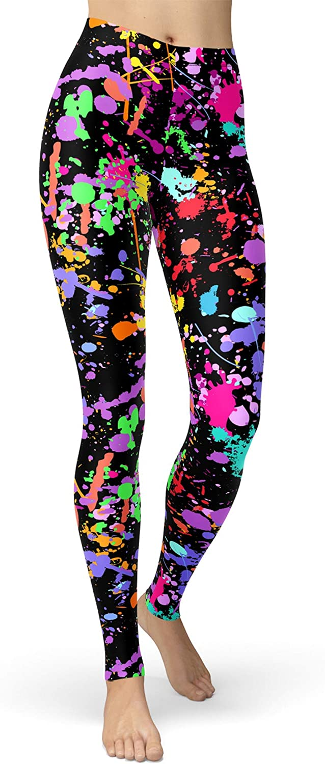 sissycos Women's Artistic Splash Printed 80s Leggings Brushed Buttery Soft Pants Regular and Plus Size: Clothing