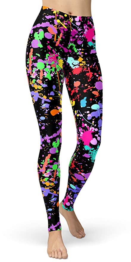 80s Jeans, Pants, Leggings sissycos Womens Artistic Splash Printed 80s Leggings Brushed Buttery Soft Pants Regular and Plus Size $14.99 AT vintagedancer.com
