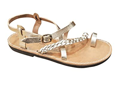 05d851e6d5a1 Ancient Greek Style Genuine Leather Sandals Roman Handmade Womens Strappy Shoes  Gladiator Spartan Hecate Summer Gold Colour Slip-On Flat Heel Fashion Girls  ...
