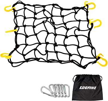 KOFULL Cargo net 35x47,20 x 20,12x12 and Trucks- Free 1pcs Luggage Fixed Strap Rope Stretches to 46 x 46 Strong Stretch Heavy-Duty for Moving Camping