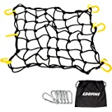 "Egofine Motorcycle Cargo Net, 15.7"" x 15.7"" Stretch to 30"" x 30"" with 2""x2"" Mesh, Super Duty Roof Cargo Net with 6…"