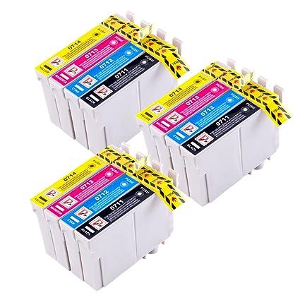 PerfectPrint - 12 Compatible T0715 Cartucho de tinta para Epson ...