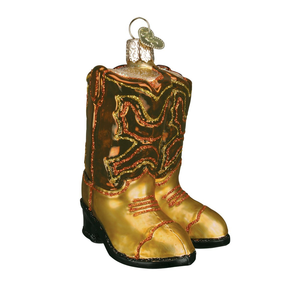 c33ea398c6f Old World Christmas Ornaments: Pair of Cowboy Boots Glass Blown Ornaments  for Christmas Tree