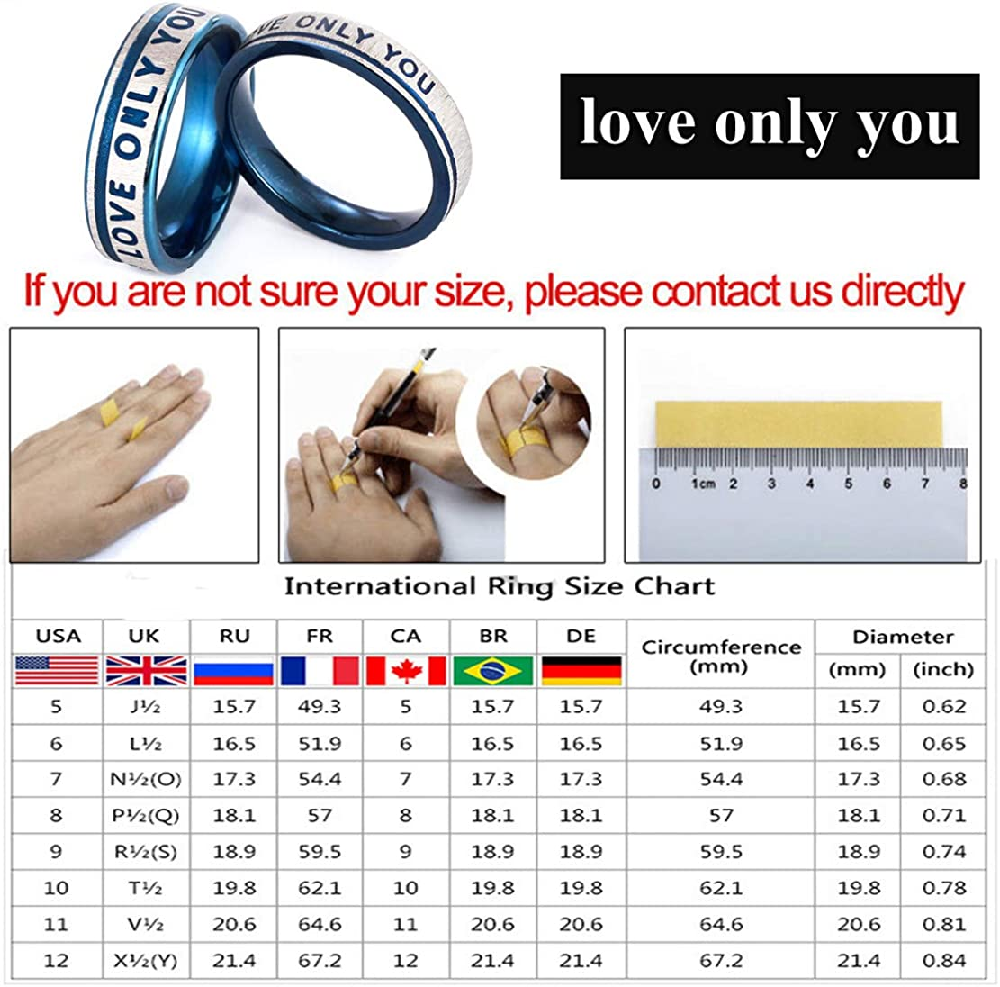 Netmetoo His Hers Promise Rings Couples Rings Love Only You Engraved Girlfriend Boyfriend Gift Blue Titanium Steel