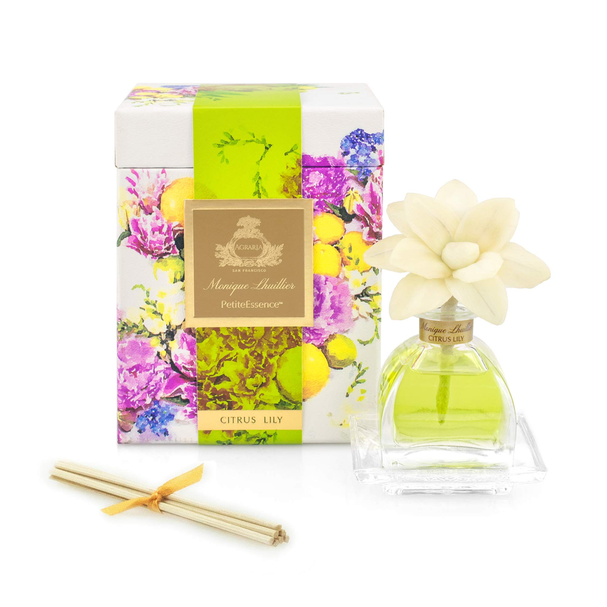 AGRARIA Monique Lhuillier Citrus Lily Scented PetiteEssence Diffuser, 1.7 Ounces with Reeds and a Flower by AGRARIA