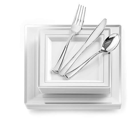 Amazon.com: 125-Piece Elegant Plastic Plates & Cutlery Set Service ...
