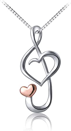 Musical Note Pendant Solid 999 Fine Silver on 18 inch adjustable Necklace