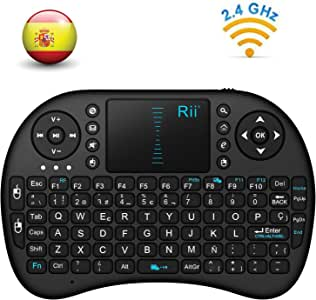 Rii Mini i8 - Teclado ergonómico con touchpad (RF 2.4 GHz, USB), color negro: Amazon.es: Informática