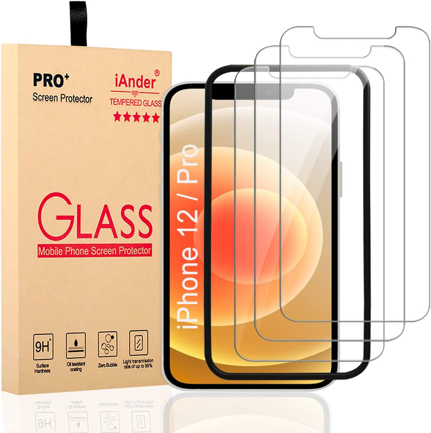 [3-PACK] iAnder Compatible with iPhone 12 /iPhone 12 Pro Screen Protector with [Frame Easy Installation Tray] [Tempered Glass] Screen Protector for iPhone 12 /iPhone 12 Pro (6.1 Inches Only)