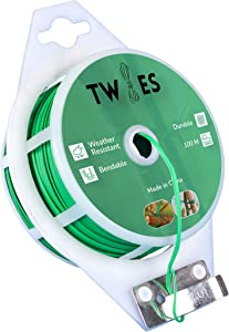 Twies Reel Twist Ties 328 feet, PE Plastic Coated – Built-in Cutter for Garden Plant Support – Garden Plant Ties for Indoor, Outdoor, Home and Office Use