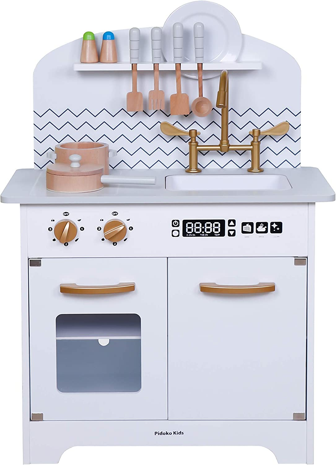 Amazon Com Pidoko Kids Wooden Toy Kitchen Grey Gray With Gold Includes Accessories Toys Games