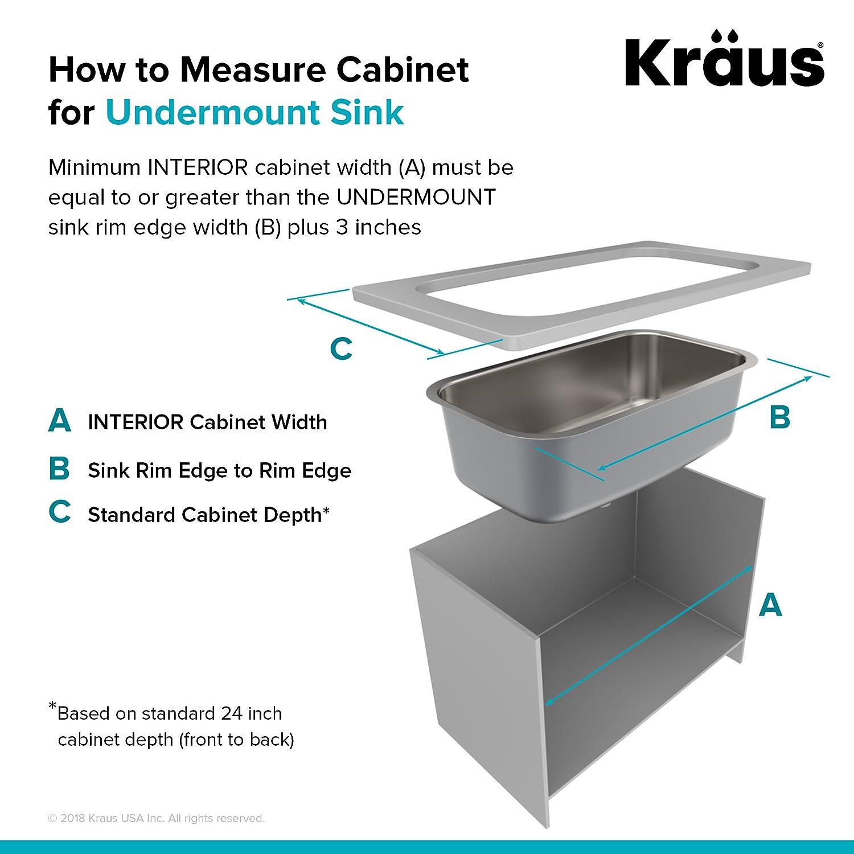 """Kraus KBU10 16 Gauge Stainless Steel 23/"""" Undermount Kitchen Sink"""