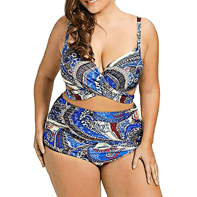 be7cf9a7e68 Amazon.com: Women Push Up Plus Size Bikini, Lady Vintage Print Bandage Strap  Cross Backless Swimsuit High Waist Bating Suit Swimwear: Garden & Outdoor