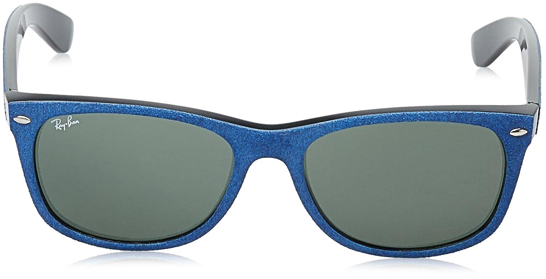 a5c27d0fe Amazon.com: Ray-Ban Men's New Wayfarer Square Sunglasses, Black/TOP Blue  Alcantara, 58 mm: Clothing