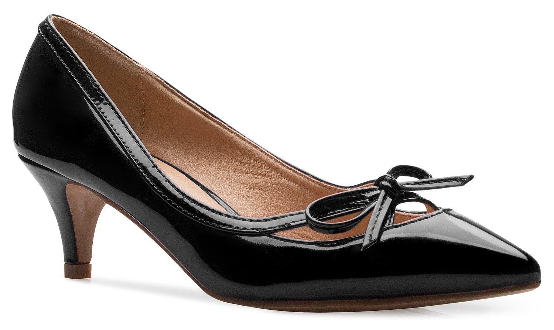 OLIVIA K Women's Classic Closed Toe D'orsay Bow Kitten Heel Pump Dress, Work, Party Mid Heeled Pumps,Black,9 B(M) US