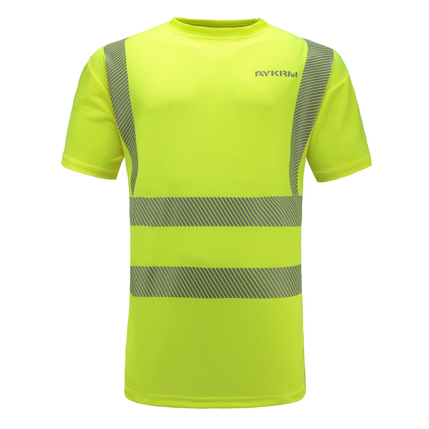 AYKRM Hi Viz VIS High Visibility t Shirt Reflective Tape Safety Security Work T-Shirt Breathable Lightweight Double Tape Workwear (M, yellow)