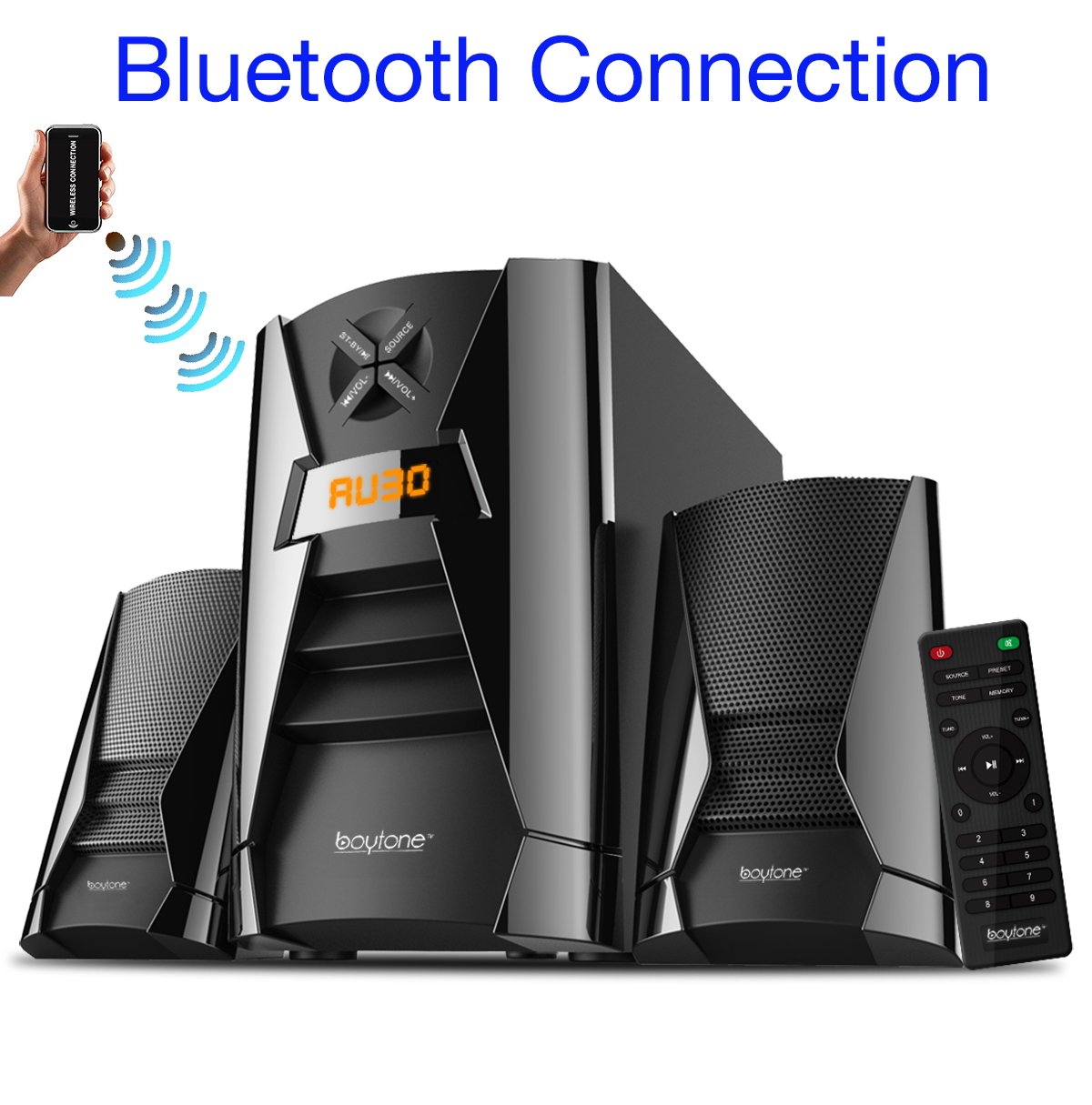 Boytone BT-222F, Wireless Bluetooth 2.1 Multimedia 40 watts, Powerful Bass System with FM Radio, Remote Control, Aux Port, USB, SD Slot, for Phones, Tablets, Music and Home Theater Movies by Boytone